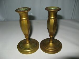 Pair 17th 18th Century Antique Lathe Turned Cast Brass Candlesticks Screw Base
