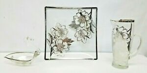 Sterling Silver Overlay Tulip Flower Depression Glass Pitcher Swan Bowl Tray