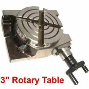 Mini Rotary Table 3 80mm Horizontal Vertical Model Milling Machine 4 Slots us