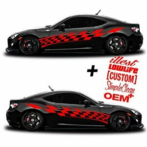Vinyl Body Side Graphics Racing Stripes Car Sticker Decals Universal 201 red