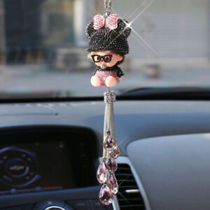 Cute Cartoon Crystal Car Rearview Mirror Pendant Jewelry Decor Hanging Ornament