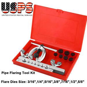 10pcs Pipe Flaring Tool Kit Mechanic Brake Plumber Clamp Spreader Dies Box