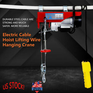 New 440 Lb Electric Cable Hoist Crane Lift Garage 110v Auto Shop Winch W Remote