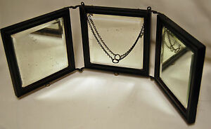 Antique Tri Fold Beveled Edge Three Way Folding Dresser Top Mirror