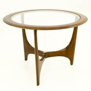 Vtg Mcm Adrian Pearsall For Lane Walnut Glass Sculptural Round Side End Table