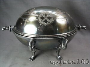 Victorian Silver Plate Roll Over Butter Dish With Figural Swan Knife Rests