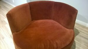 Vintage Retro 70 S Swivel Lounge Tub Barrel Chair Gorgeous Rust Brown