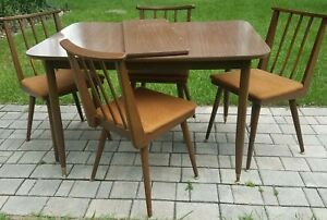 Mid Century Dining Table And Chairs Danish Parragon Furn Usa Vintage