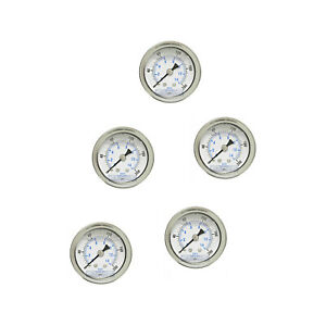 5 Pack Liquid Filled Pressure Gauge 0 200 Psi 1 5 Face 1 8 Npt Back Mount
