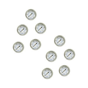 10 Pack Liquid Filled Pressure Gauge 0 200 Psi 1 5 Face 1 8 Npt Back Mount