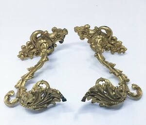 Large Antique French Rococo Ornate Gilt Bronze Curtain Tie Backs Acanthus Leaves