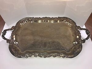 Vintage Silverplate Butlers Footed Serving Tray With Handles