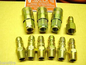 Milton 1805 1807 1808 P style Air Hose Fittings 3 8 Pipe Threads 10pc Fs