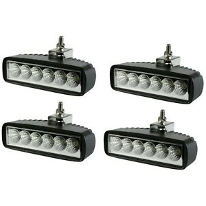 4 X Single Row 6inch Cree Led Work Light Bar Flood Offroad Driving 4wd Truck