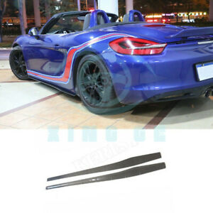 Carbon Fiber Side Skirt Bumper Splitter Apron For Porsche 981 2013 2015 Dl
