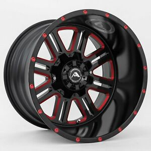 20x14 American Offroad A106 8x6 5 Et 76 Black Red Tint Rims Set Of 4