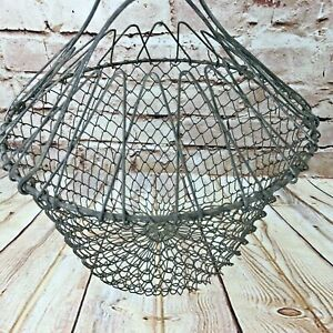 Vtg Old Wire Egg Basket Collapsible Farmhouse Easter Antique Primitive