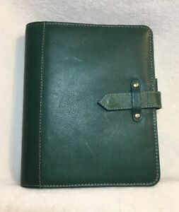 Htf Franklin Covey Classic Vintage Aurora Leather Planner Teal Green
