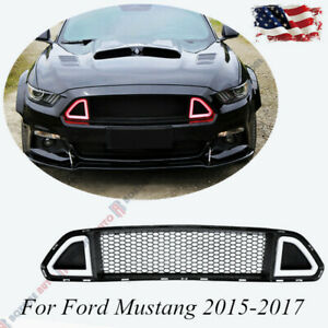 New Front Hood Grill Upper Grille With Red Led Light For Ford Mustang 2015 2017