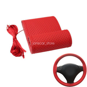 Microfiber Leather Hand Stitching Sewing Car Steering Wheel Cover Red 15