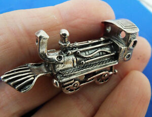 Vintage Sterling Silver Train Locomotive Miniature Car Great Detail Must See
