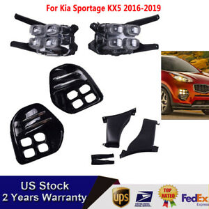 For Kia Sportage 2017 20 4 Eyes Led Style Drl Lamps Driving Fog Lights W Bezel