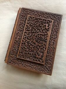 Antique Sandalwood Anglo Indian Deeply Carved Book Cover Document Case 1890