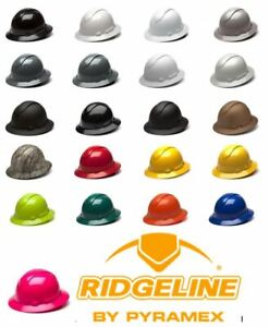 Pyramex Ridgeline Multiple Color Options Full Brim Hard Hat W 4 Pt Ratchet Susp