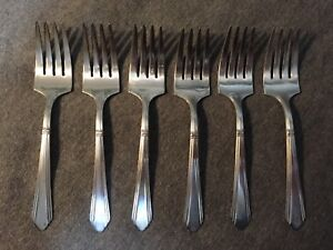 1933 Wilshire Or Rogers Cutlery Polished Salad Forks Silver Plate