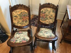 Vintage Victorian Rocking Chairs Folding Wood Oak Rockers Tapestry Set Of 2