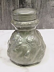 Antique Reed Barton Pewter Repousse Poppy Poppies Covered Jar Container