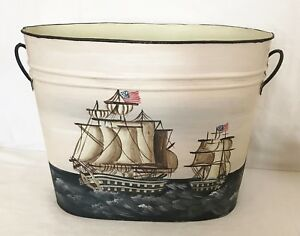 Vintage Hand Painted Metal Bucket W Handles Nautical Clippership Americana