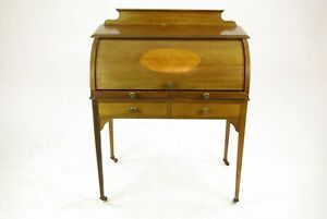 Antique Walnut Desk Inlaid Cylinder Writing Table Scotland 1910s B1458