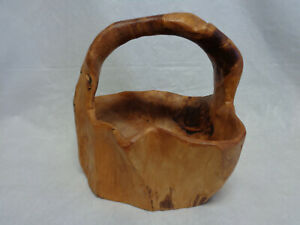 Rustic Natural Hand Carved Burl Wood Bowl With Handle Basket 9 Tall