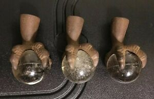 3 Antique Victorian Cast Iron Claw Foot Glass Ball Table Legs Furniture 6