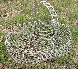 Antique Primitive Wire Market Heavy Duty Industrial Vintage Old Handled Basket