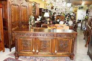 Carved Oak French Antique Gothic Sideboard Buffet Dining Room Furniture