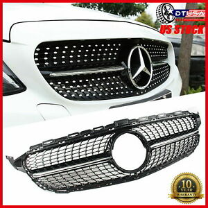 Amg Diamond Black Front Grill Grille For Mercedes Benz C Class W205