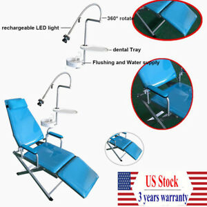 Portable Dental Folding Chair water Supply led Light plastic Spittoon Set Usa