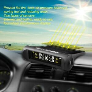 Solar Power Wireless Lcd Tpms Tire Pressure Monitor System With 4 Sensors Ss