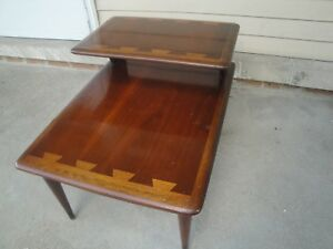 Lane Midcentury Danish Modern Inlaid Dovetail Tiered End Bed Side Table