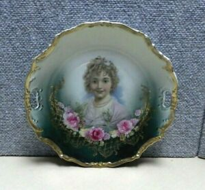 Pretty Porcelain Portrait Plate 10 1 2 Reticulated Handles