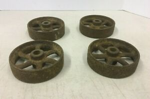 Vintage Antique 5 Inch Cast Iron Cart Wheels Lot Of Four Wheels