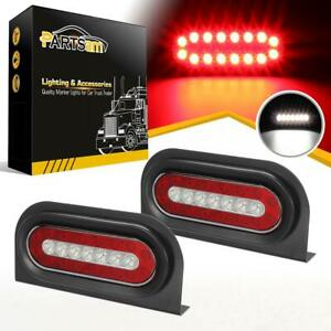 2x6 Oval Red White 23 Led Stop Turn Tail Reverse Truck Trailer Lights W Bracket