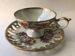 Vintage China Tea Cup Saucer Gold Trim Floral Pansy Iridescent Footed Laced