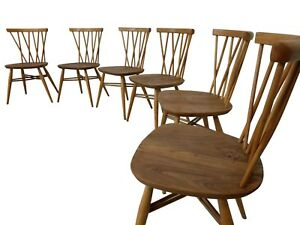 Set Of 6 Mid Century Ercol Candlestick Chairs Paul Mccobb Planter Style