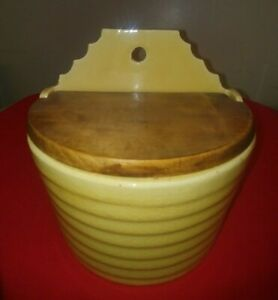Antique Art Deco Pottery Wall Salt Box W Wooden Lid Yellow Primitive Very Good
