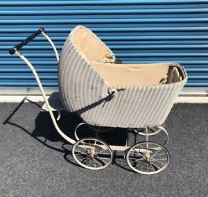 Vintage Antique Wicker Baby Pram Carriage Stroller Buggy Rare Full Size W Papers
