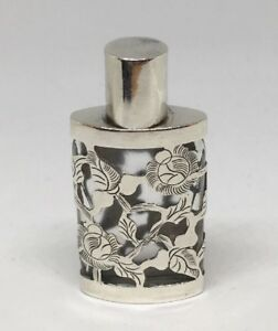 Taxco Mexico Glass Scent Perfume Bottle W Sterling Silver Overlay Floral Etched