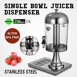 Single 8l Juice Drink Dispenser Beverage Cooler 2 2 Gallon Stainless Steel